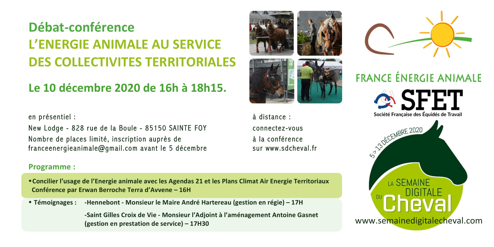 Intêrets de la traction animale pour les collectivités : Conférence de France Energie Animale - 10/12/2020 lors de la Semaine Digitale du Cheval